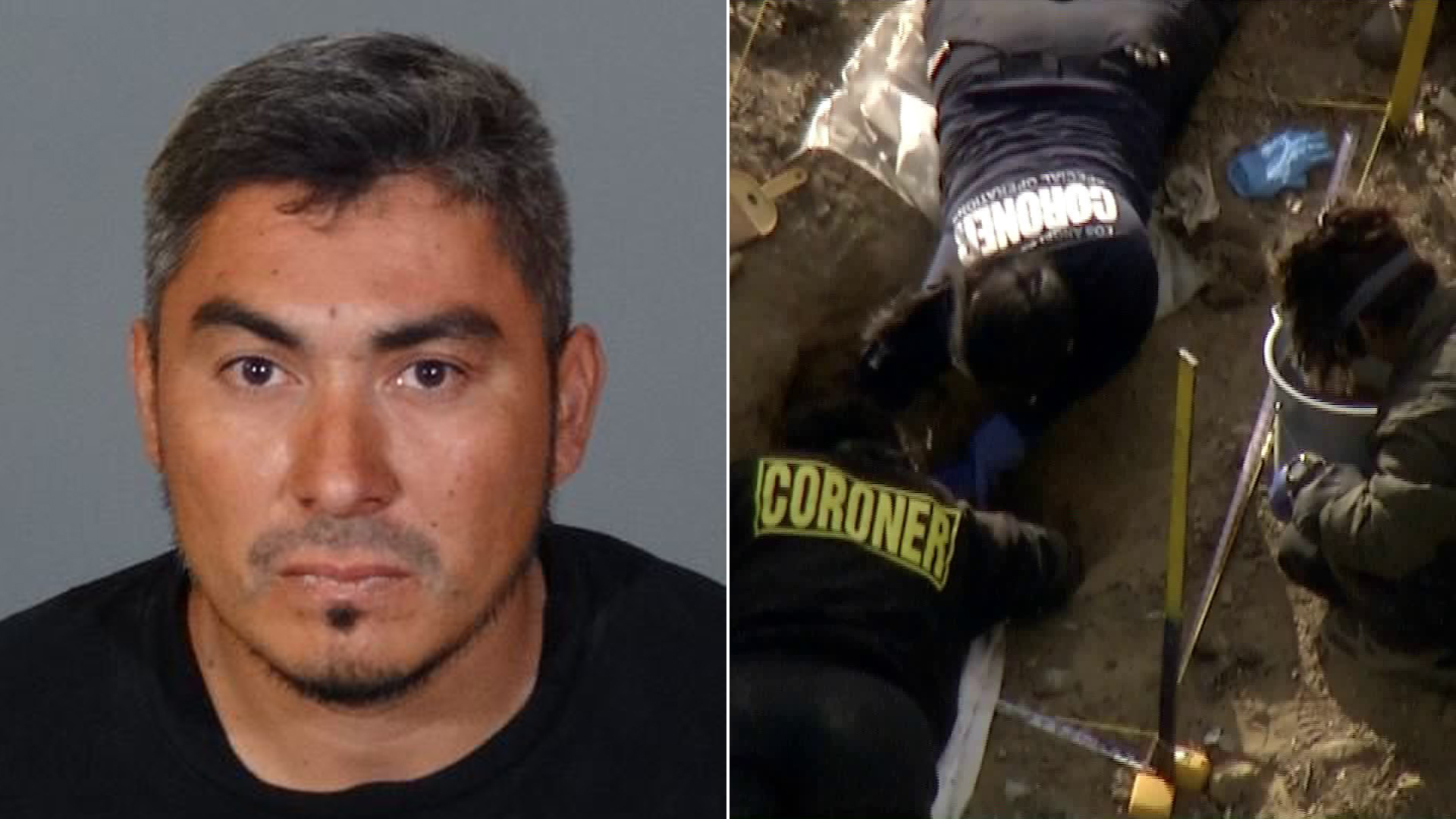 "Left: Jesus ""Chuy"" Guzman is seen in a photo released by the L.A. County Sheriff's Department on Oct. 14, 2018. At right, investigators are seen digging at the property near Littlerock where Guzman formerly lived on Oct. 12, 2018, after the remains of three individuals were found there. (Credit: KTLA)"