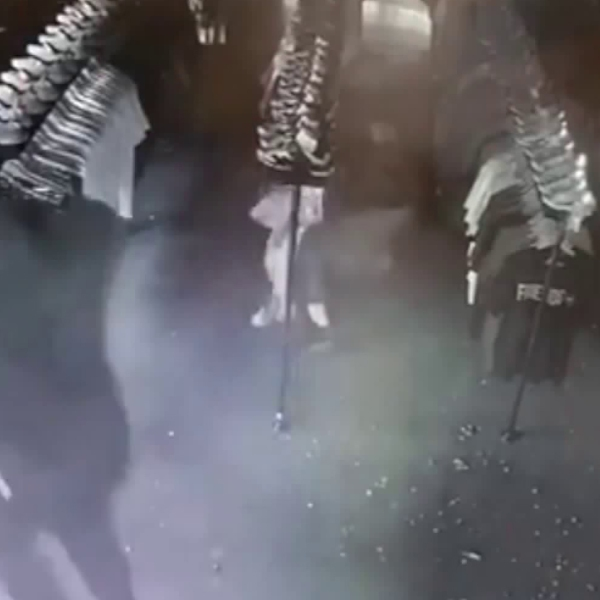 A collectible streetwear shop on Melrose in the Fairfax district, called Coolkicksla, is seen being burglarized on Oct. 1, 2018, in this footage released by the store.