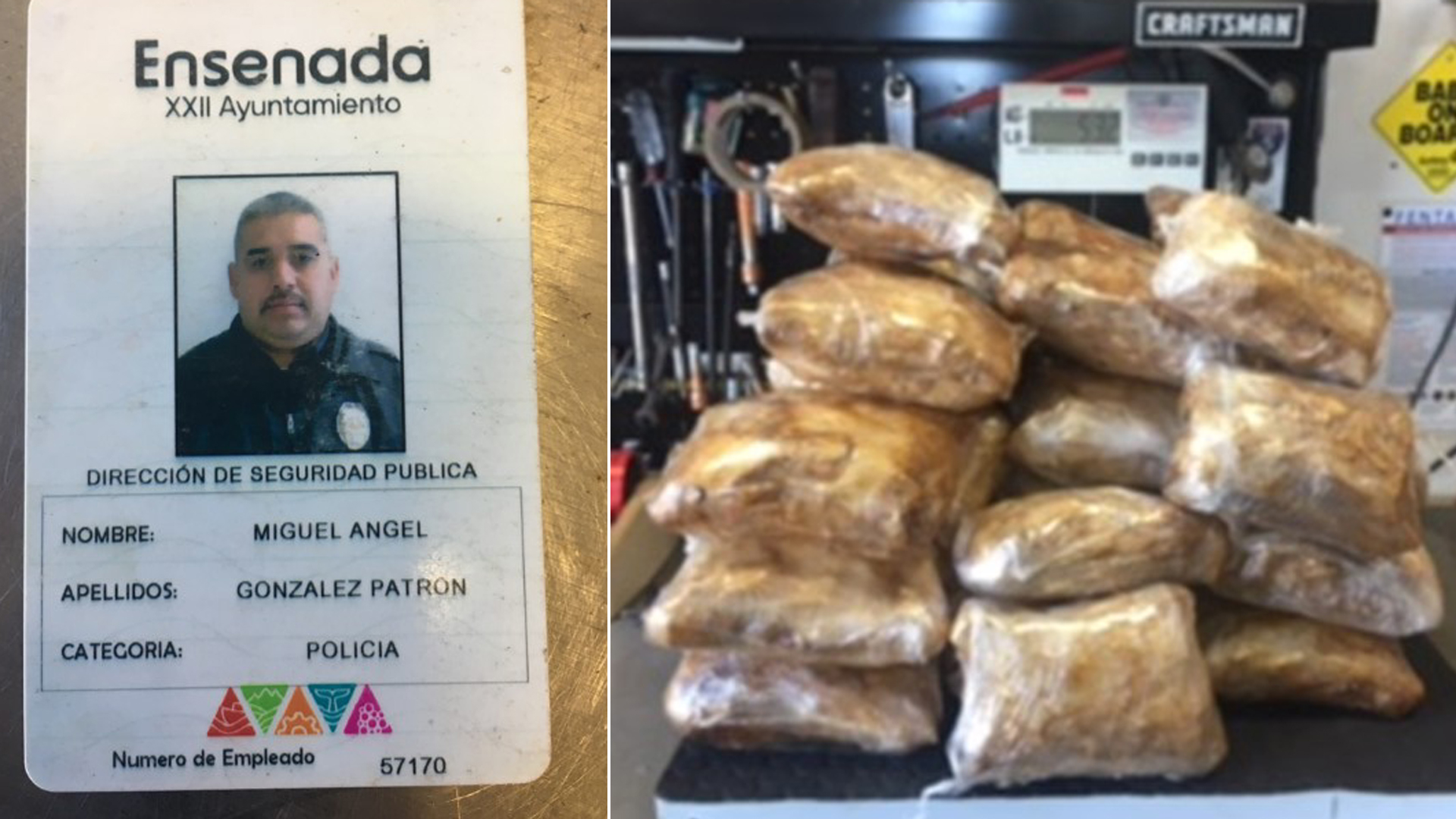 Images provided by the Orange County Sheriff's Department on Oct. 10, 2018 show a badge identifying Miguel Patron as a police officer and bags officials said contained meth.