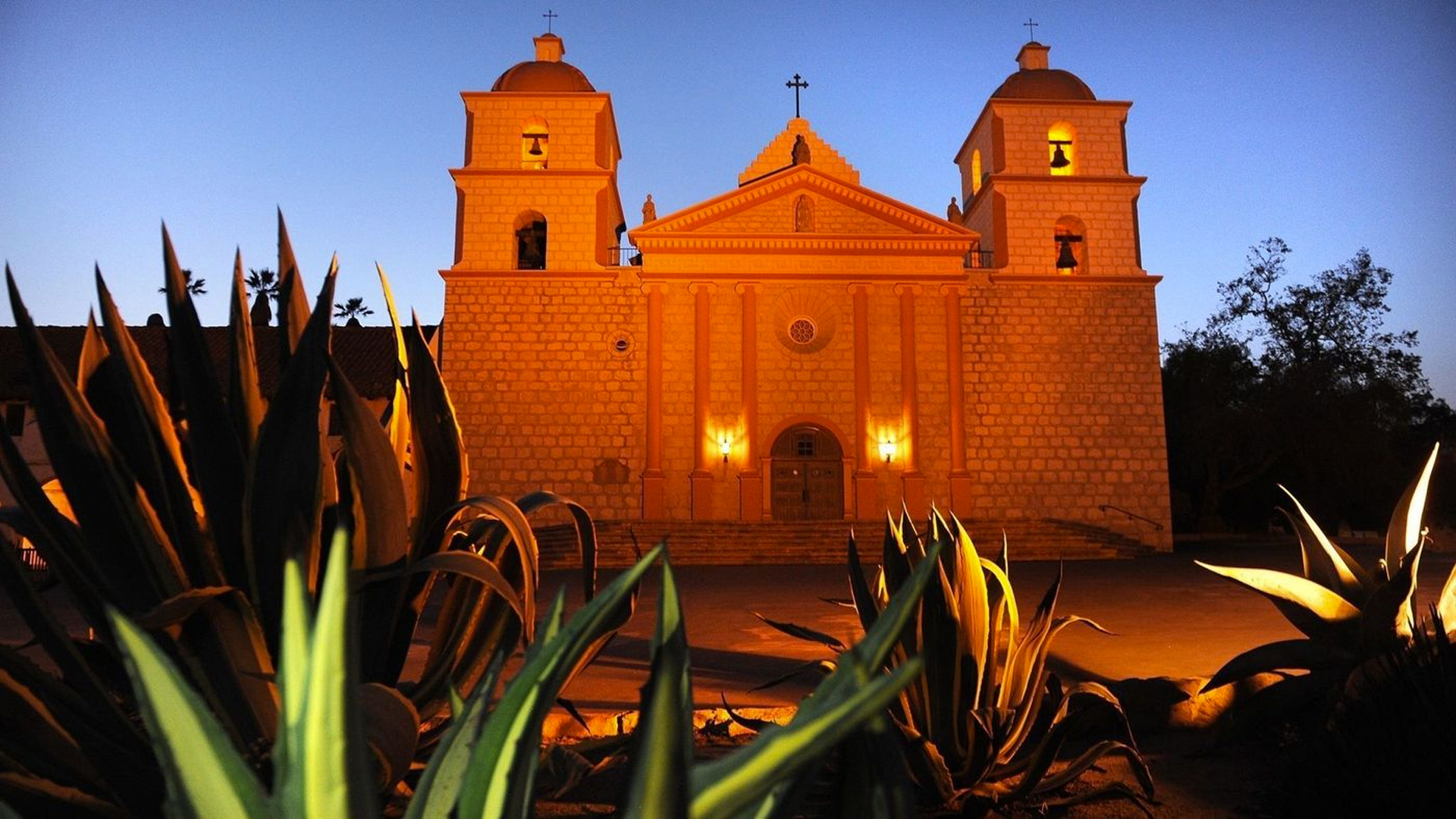 Graffiti was discovered on the outside of the Old Mission Santa Barbara building and on several pillars on the property early Wednesday, police said. (Credit: Wally Skalij / Los Angeles Times)