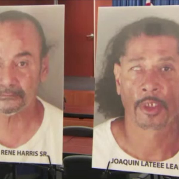 Photos Googie Rene Harris Sr. and Joaquin Lateee Leal are displayed by the Riverside County District Attorney's Office during a news conference in October 2018.