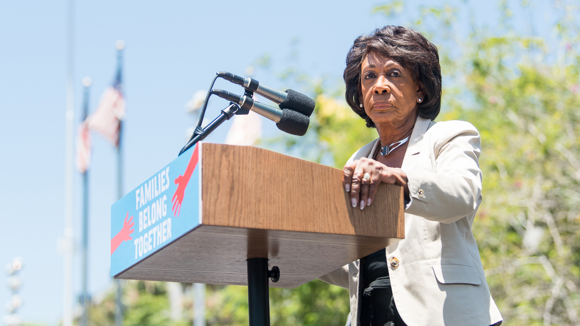Rep. Maxine Waters speaks at Los Angeles City Hall on June 30, 2018. (Credit: Emma McIntyre/Getty Images for Families Belong Together LA)