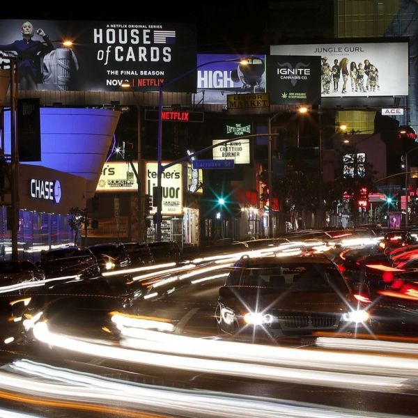 "An advertisement for the final season of Netflix's ""House of Cards"" is featured on a Netflix-owned billboard along the Sunset Strip in West Hollywood in this undated photo. (Credit: Luis Sinco / Los Angeles Times)"