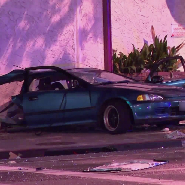 A Honda Civic was torn apart as a result of a suspected DUI crash in Pasadena on Oct. 15, 2018. (Credit: KTLA)