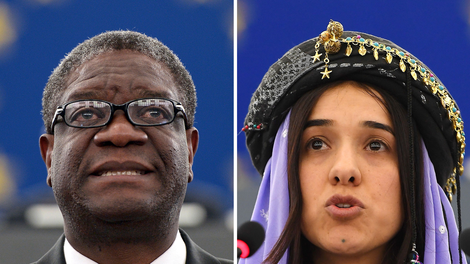 Congolese gynecologist Denis Mukwege is shown on Nov. 26, 2014 at the European Parliament in Strasbourg, and Nadia Murad is shown on Dec. 13, 2016 at the European parliament in Strasbourg. (Credit: Frederick Florin/AFP/Getty Images)