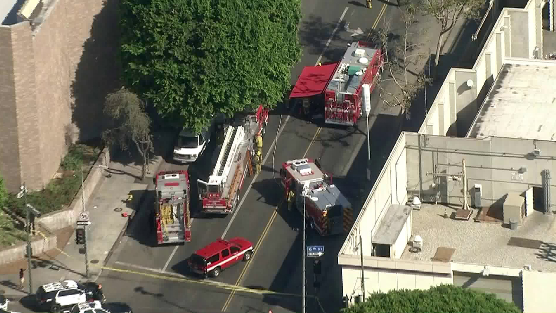 Los Angeles firefighters respond to a suspicious odor at LAPD's central division on Oct. 26, 2018. (Credit: KTLA)
