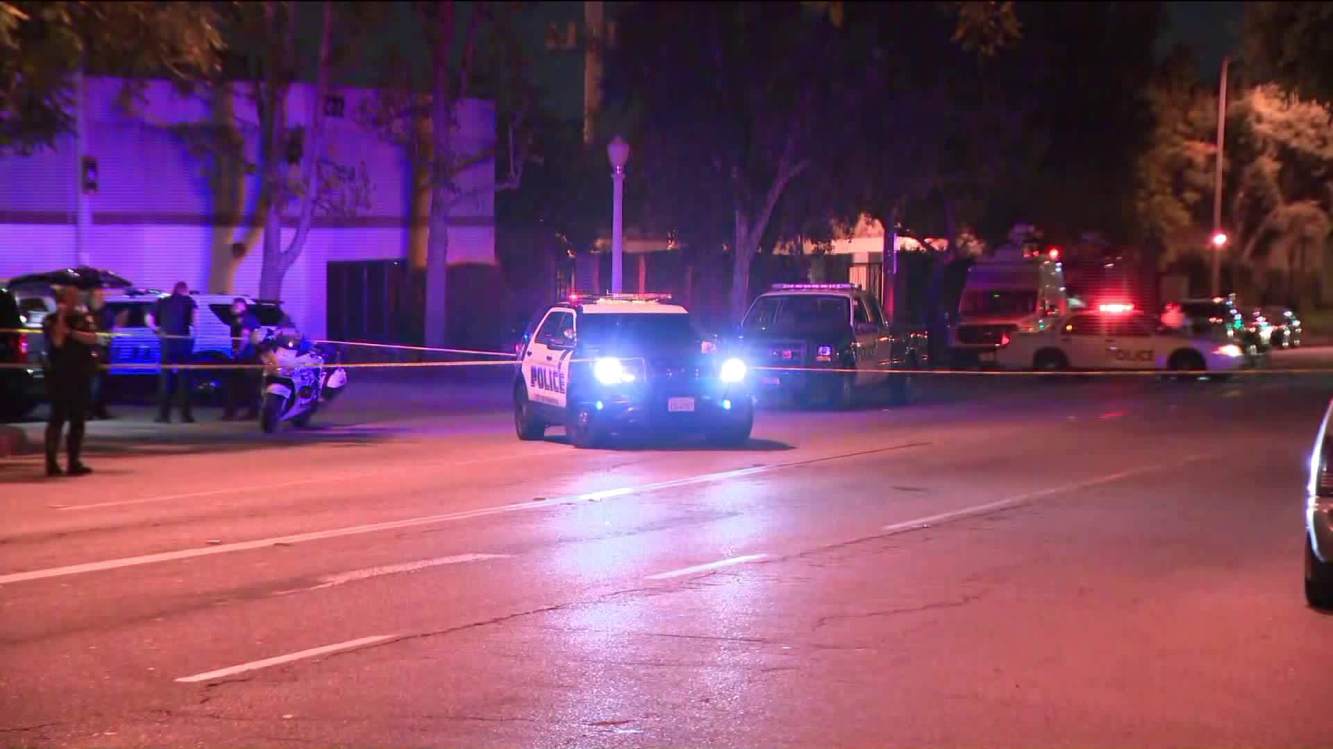 Pasadena police investigate the scene of a fatal hit-and-run at Fair Oaks Avenue and Claremont Street on Oct. 21, 2018.