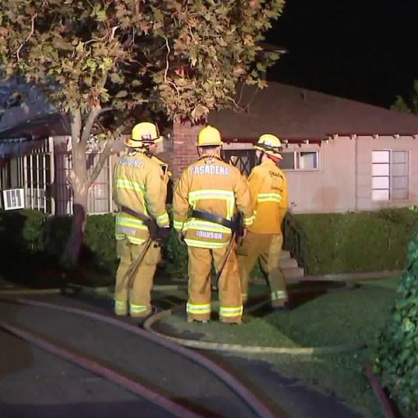 Crews respond to a fire in Pasadena on Oct. 26, 2018. (Credit: KTLA)