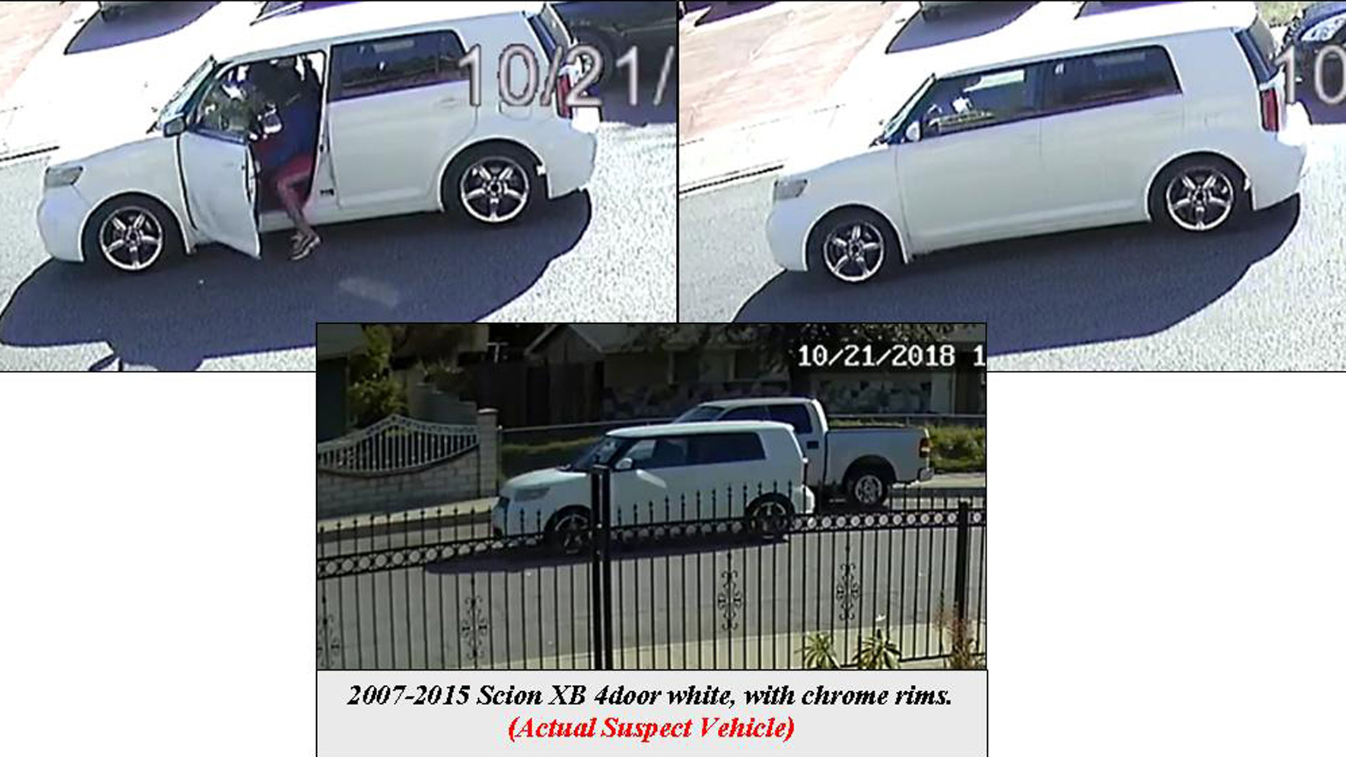 Pomona police are seeking the white, four-door, Scion xB with chrome rims pictured in this security camera image, along with three suspects, in connection with a shooting that left a young boy wounded in Pomona on Oct. 21, 2018.
