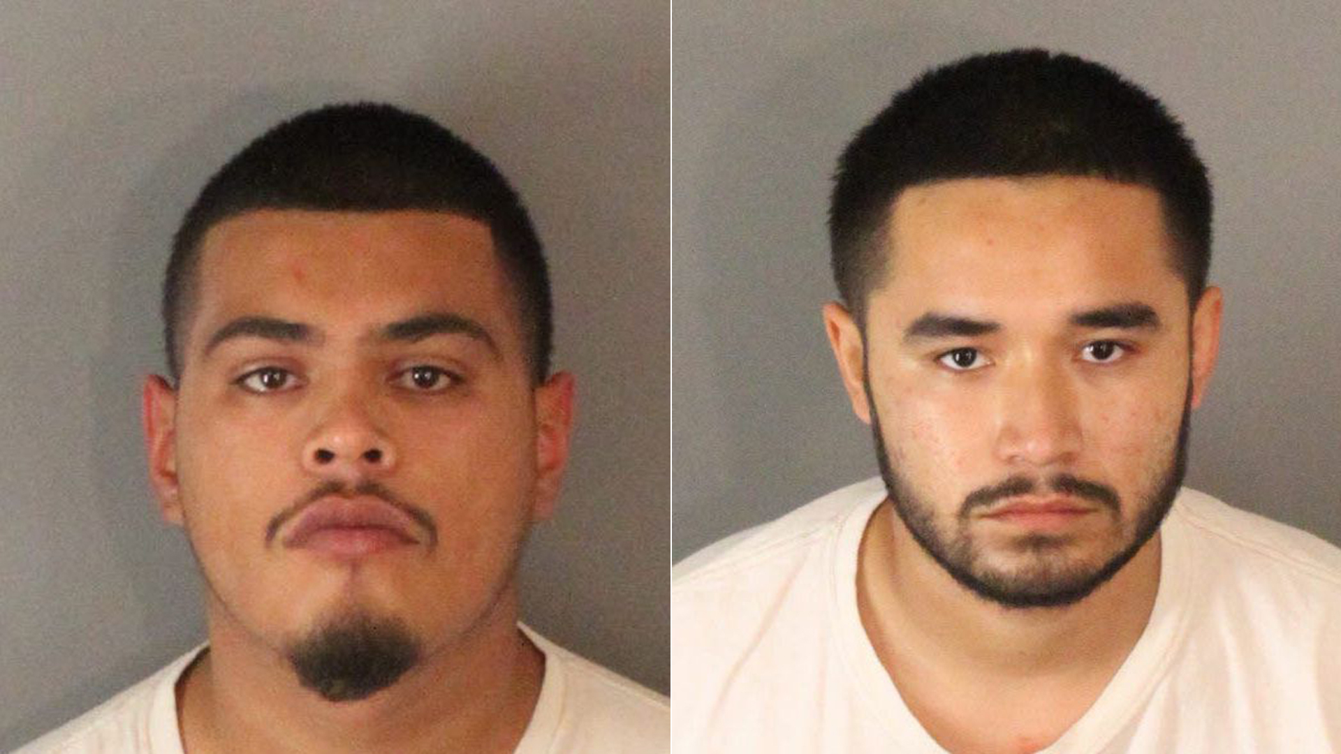 Jose Landeros, left, and David Martinez are shown in photos released by the Riverside Police Department on Oct. 9, 2018.