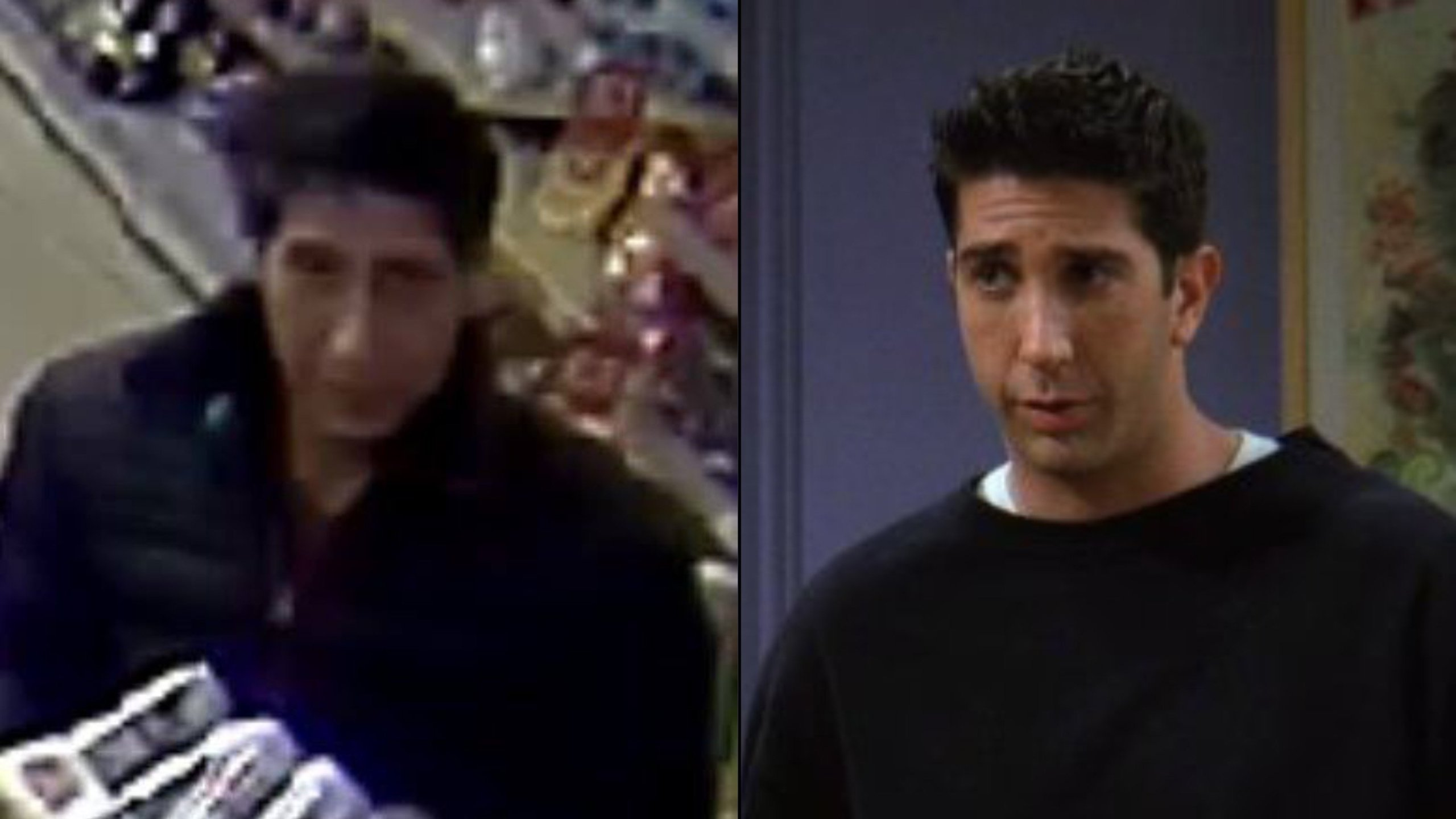 """At left, a robbery suspect is seen in a still from surveillance footage released Oct. 23, 2018, by Blackpool Police. At right, actor David Schwimmer portrays Ross Gellar in long-running sitcom """"Friends"""" in an image obtained by CNN."""