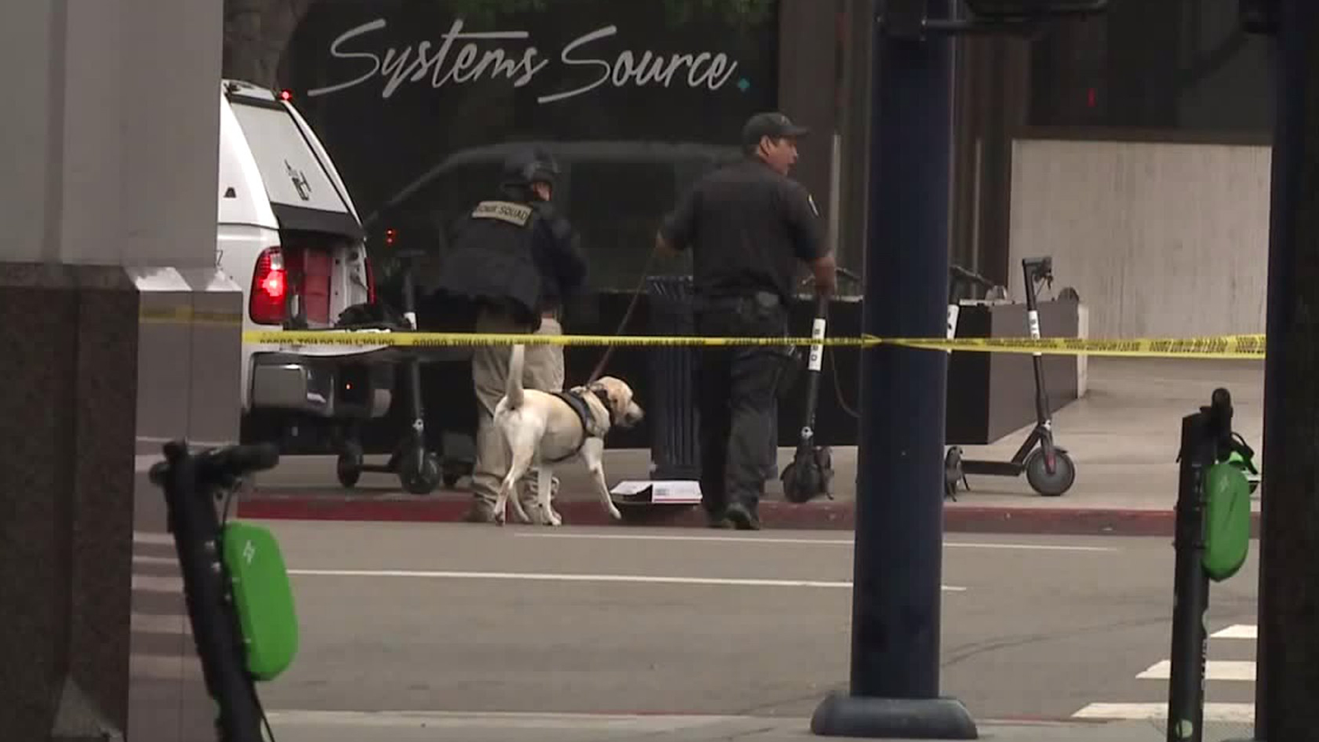 Authorities investigated suspicious packages found outside a building that houses the San Diego Union-Tribune and an office of Sen. Kamala Harris. (Credit: KSWB)