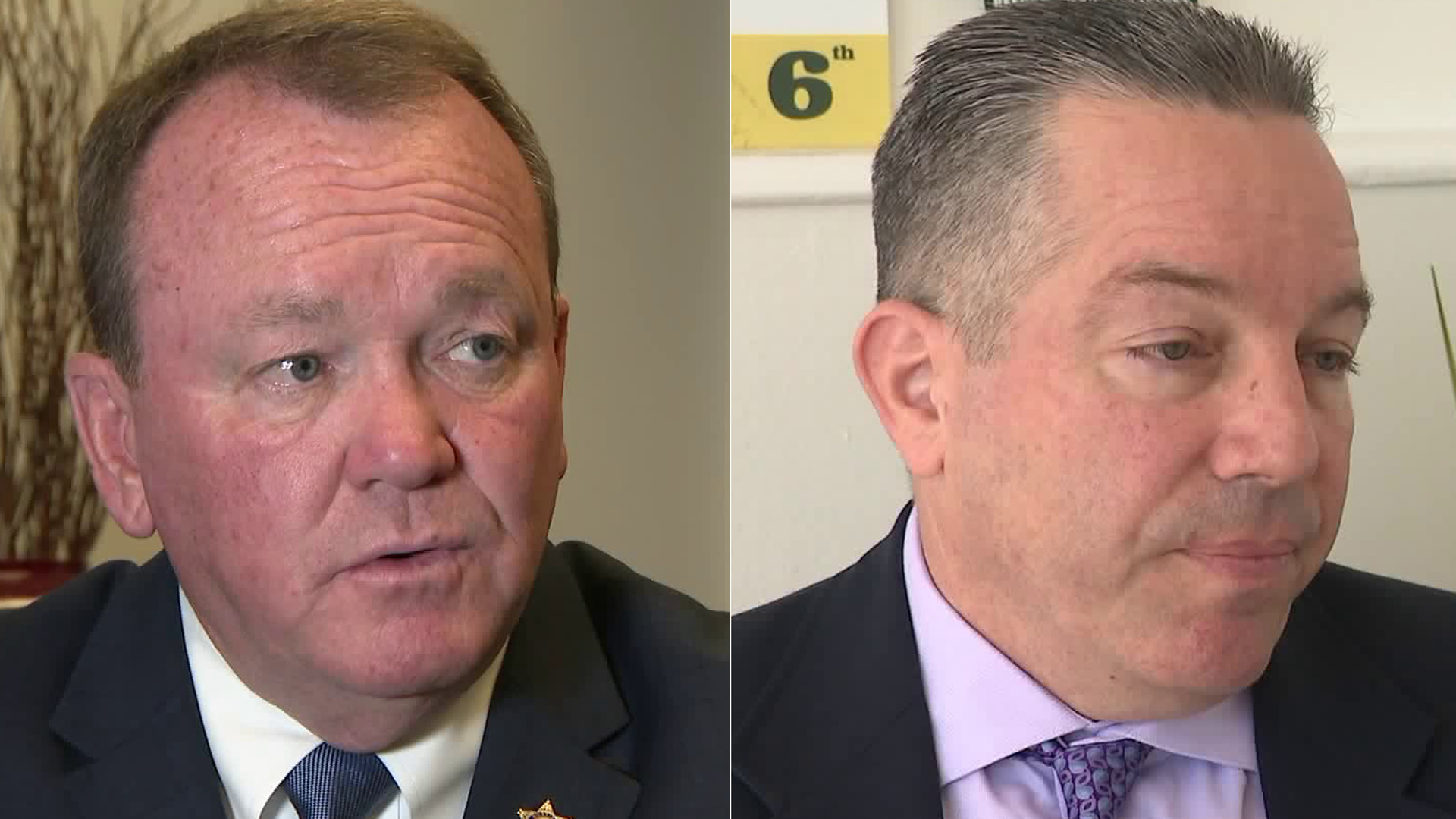 Left, L.A. County Sheriff Jim McDonnell, and, right, retired sheriff's Lt. Alex Villanueva, are seen during interviews in October 2018. (Credit: KTLA)