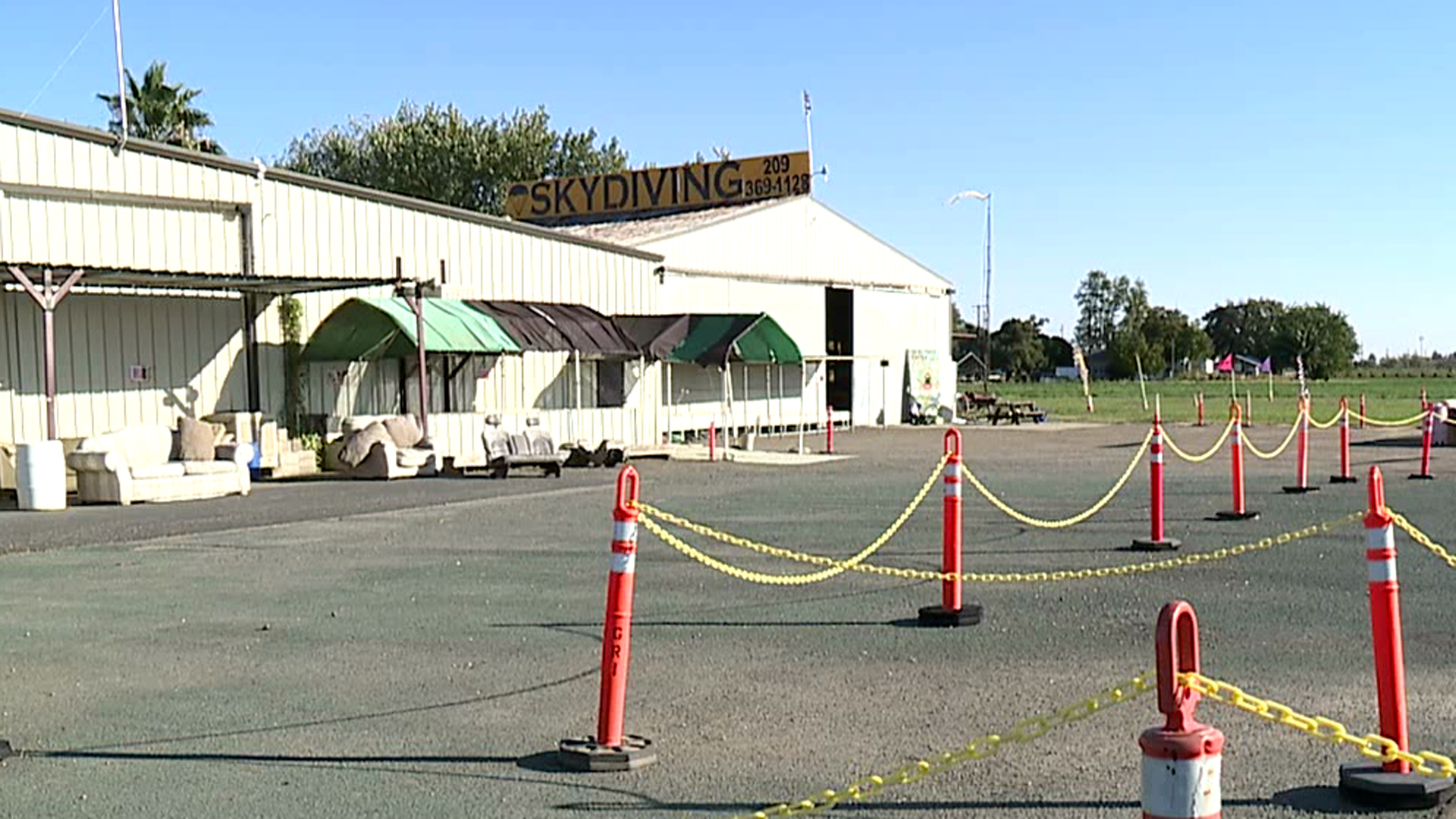 The Lodi Skydiving Center is seen after a woman died when her parachute failed to deploy during a jump on Oct. 14, 2018. (Credit: KTXL)