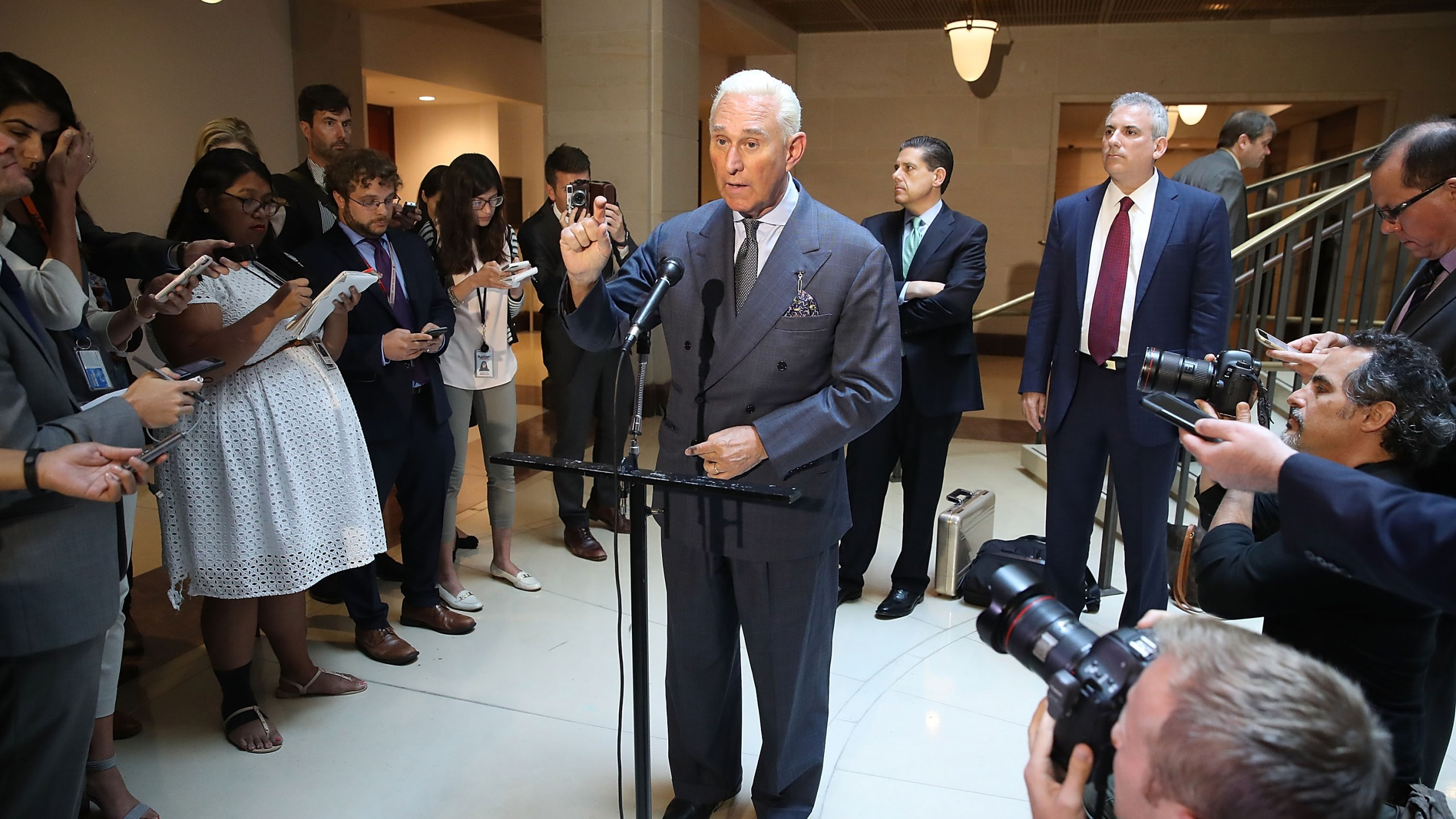 Roger Stone, former confidant to President Trump speaks to the media after appearing before the House Intelligence Committee during a closed door hearing, September 26, 2017 in Washington, DC. (Credit: Mark Wilson/Getty Images)
