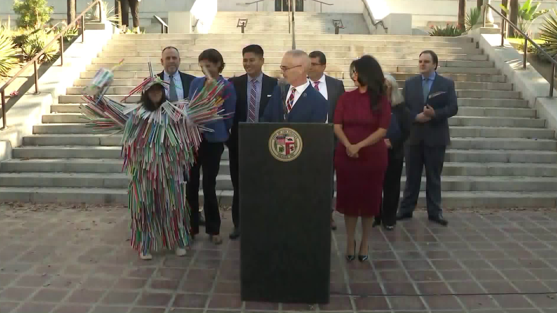 Los Angeles city council members Mitch O'Farrell and Nury Martinez host a press conference on their initiative to banish plastic drinking straws from the city by 2021. (Credit: Office of Councilman Mitch O'Farrell)