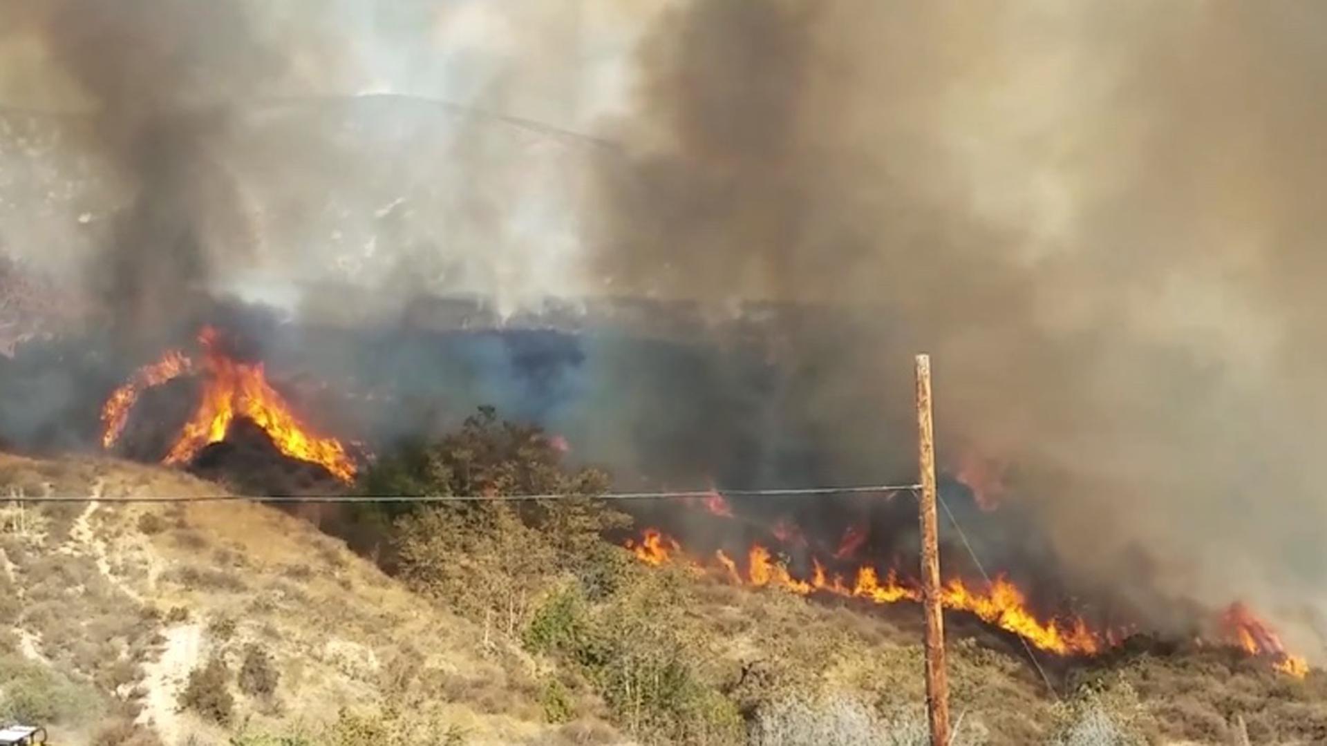 The North Park Fire burns through an area just north of CSU San Bernardino on Oct. 12, 2018. (Credit: Whitehill Productions)