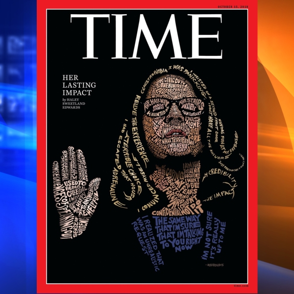 An illustration of Christine Blasey Ford on the cover of Time magazine. (Credit: Time magazine)
