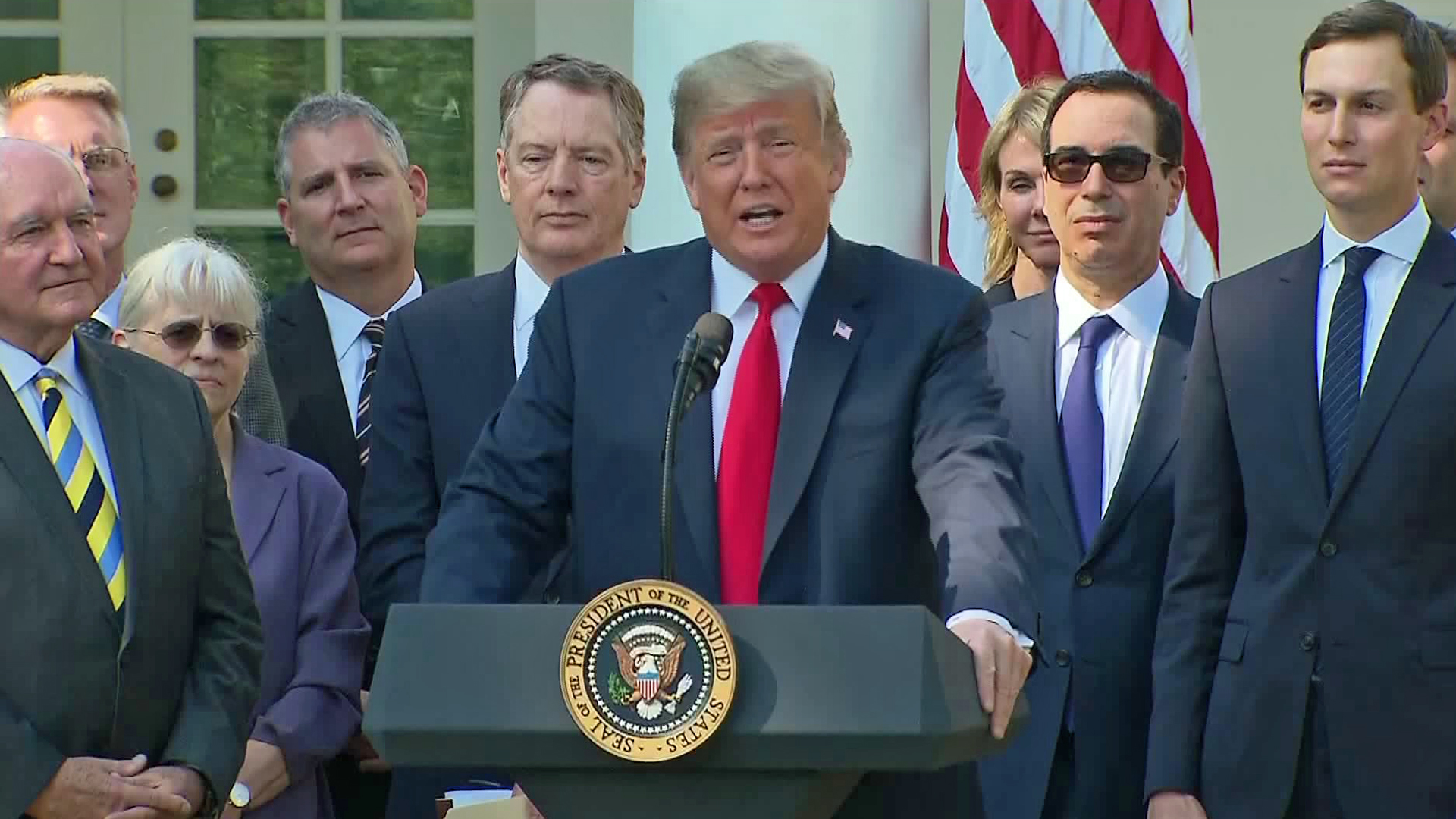 Donald Trump discusses a newly negotiated trade agreement with Canada and Mexico during a news conference at the White House on Oct. 1, 2018. (Credit: CNN)