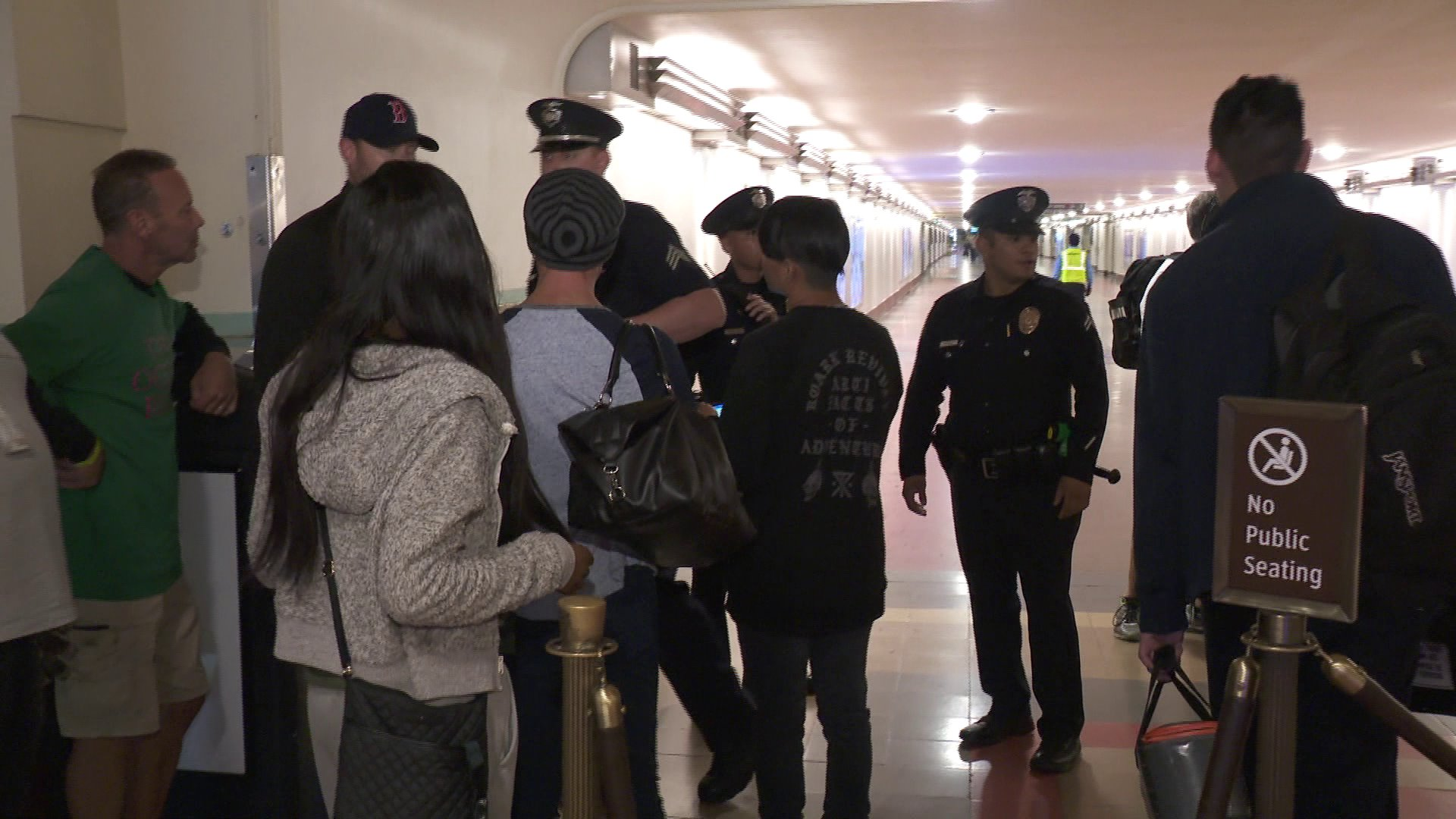 People walk through Union Station after a bomb scare at the transit hub on Oct. 28, 2018. (Credit: KTLA)