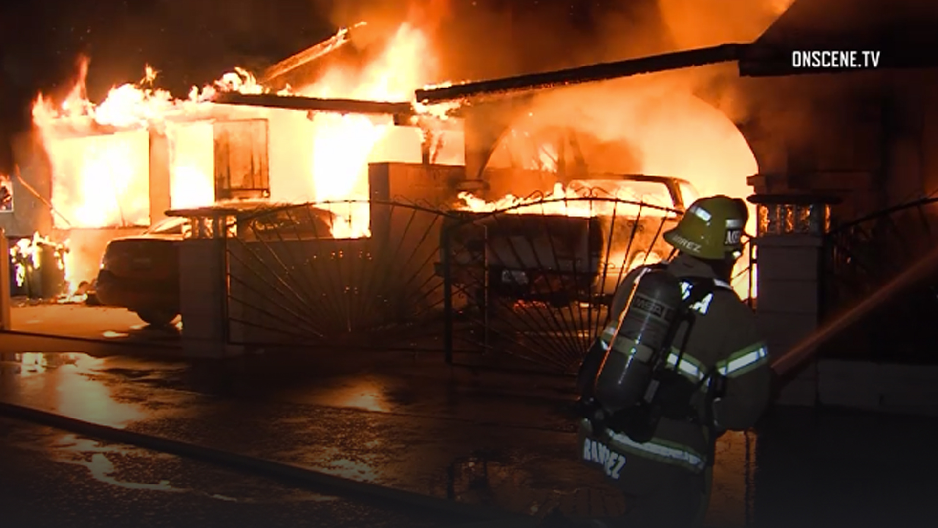 A home in Ventura is seen engulfed in flames during the early morning hours of Oct. 21, 2018. (Credit: Onscene.TV)