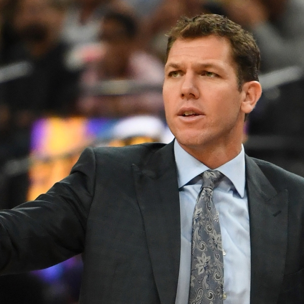 Head coach Luke Walton of the Los Angeles Lakers gestures to his players during their preseason game against the Golden State Warriors at T-Mobile Arena on Oct. 10, 2018 ,in Las Vegas. (Credit: Ethan Miller/Getty Images)