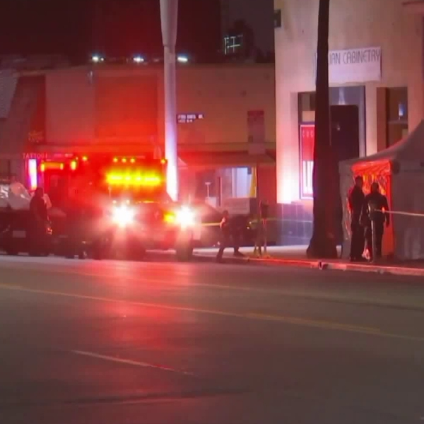 Paramedics arrive to the scene in Hollywood where a man was stabbed on Oct. 11, 2018. (Credit: ANGNews)
