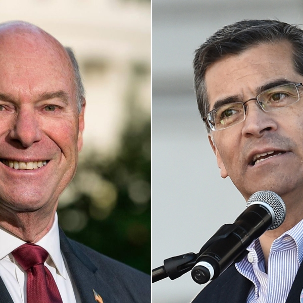 Retired judge Steven Bailey, left, is seen in an image posted to his campaign's Facebook page on June 6, 2016. California Attorney General Xavier Becerra speaks at the Women's March in Los Angeles on Jan. 20, 2018. (Credit: Amanda Edwards / Getty Images)