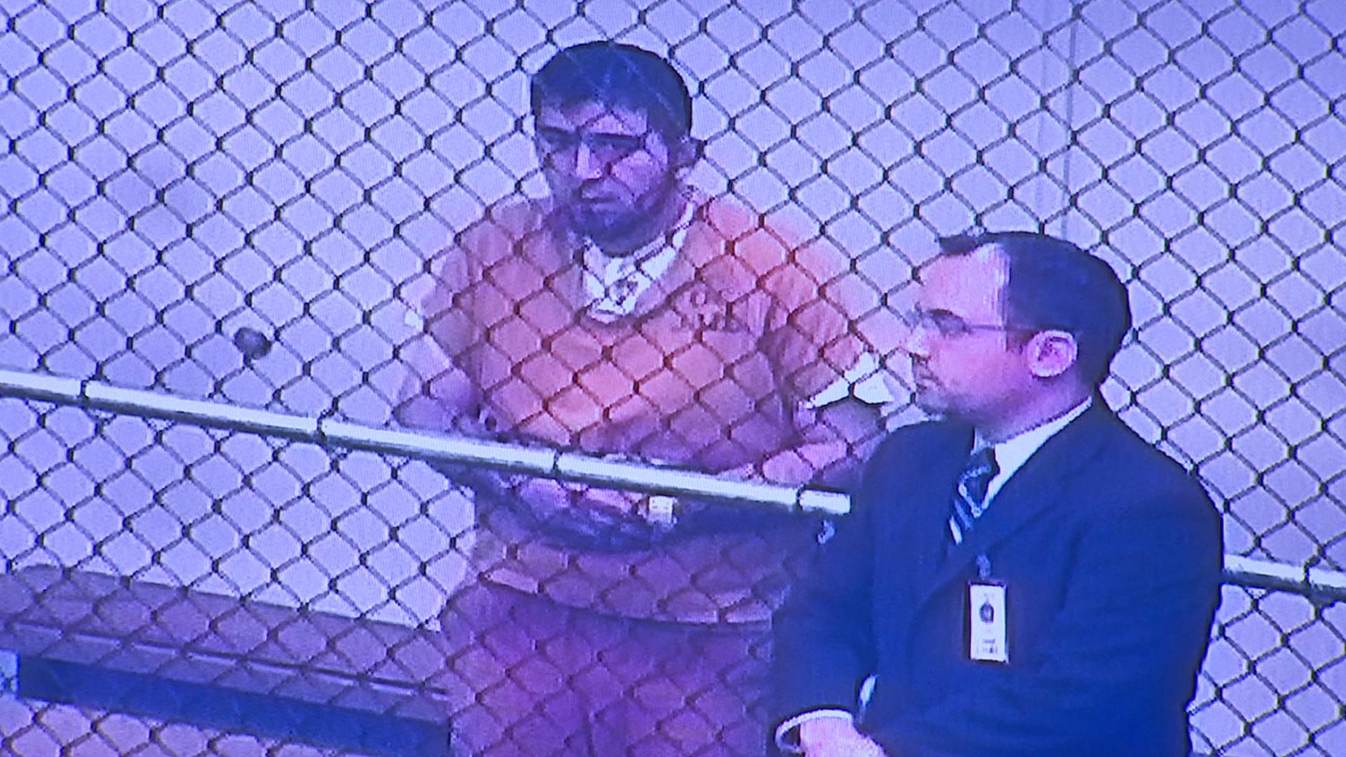 Homicide suspect Amer Alhasan appears in court in Santa Ana on Nov. 2, 2018. (Credit: KTLA)