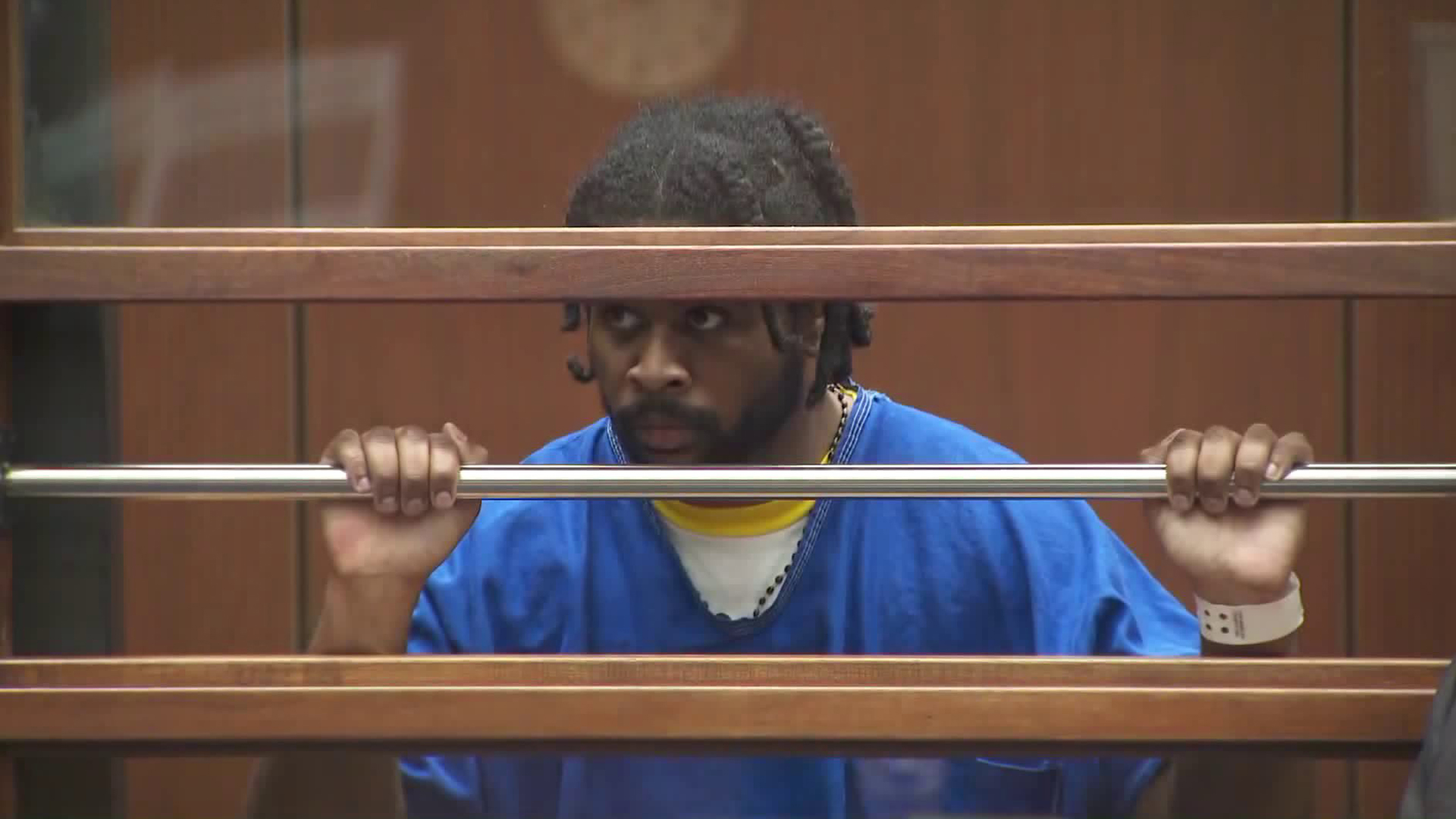 Gene Atkins appears during a hearing at the Foltz Criminal Justice Center in downtown Los Angeles on Nov. 7, 2018. (KTLA)