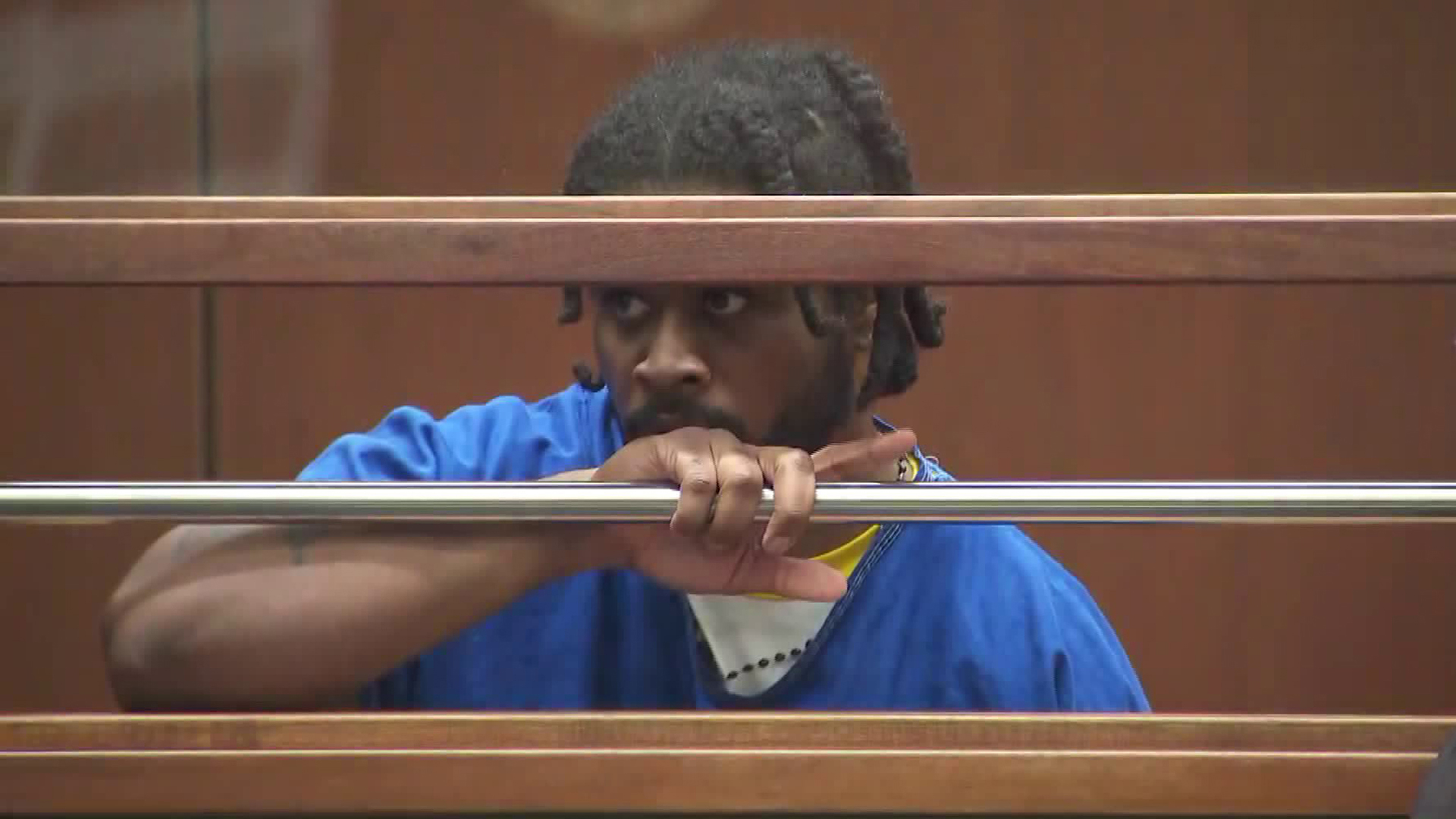 Gene Atkins appears during a hearing at the Foltz Criminal Justice Center in downtown Los Angeles on Nov. 7, 2018. (Credit: KTLA)