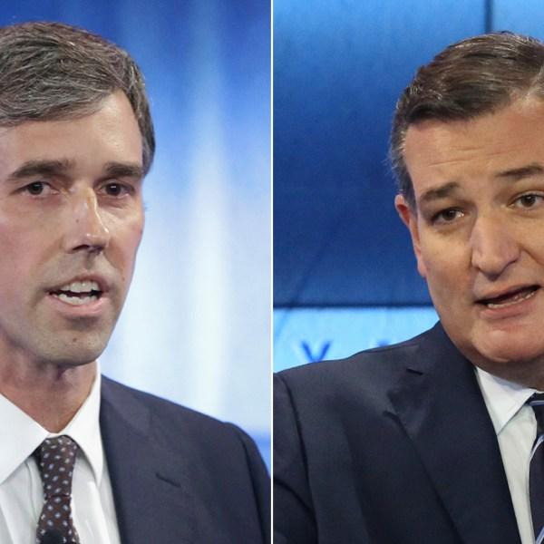 Rep. Beto O'Rourke, left, and Sen. Ted Cruz participate in a debate at KENS 5 studios in San Antonio, Texas, on Oct. 16, 2018. (Credit: Tom Reel / Getty Images)