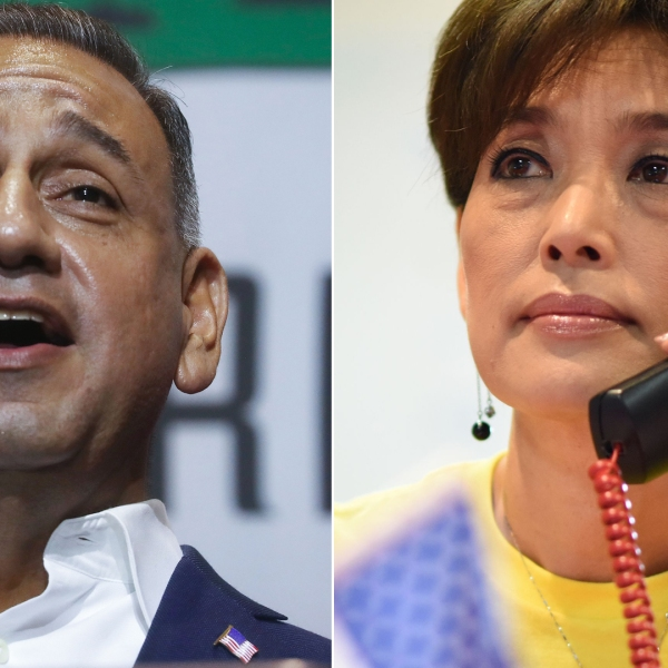 Left, Gil Cisneros speaks at a rally in Fullerton on Oct. 4, 2018. Right, Young Kim makes campaign calls at her campaign office in Yorba Linda on Oct. 6, 2018. (Credit: Getty Images / left, Mario Tama; right, ROBYN BECK)