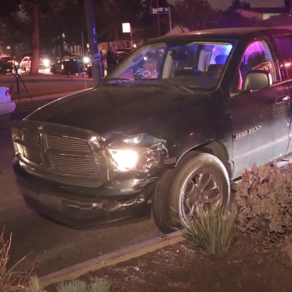 A pickup driven by a suspected DUI driver is seen crashed in Panorama City following a pursuit on Nov. 28, 2018. (Credit: KTLA)