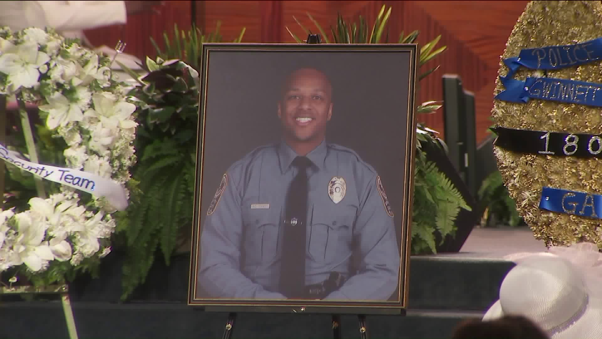 Mourners paid their respects to slain Georgia police officer Antwan Toney, a Southern California native, at a service in Gardena on Nov. 3, 2018.