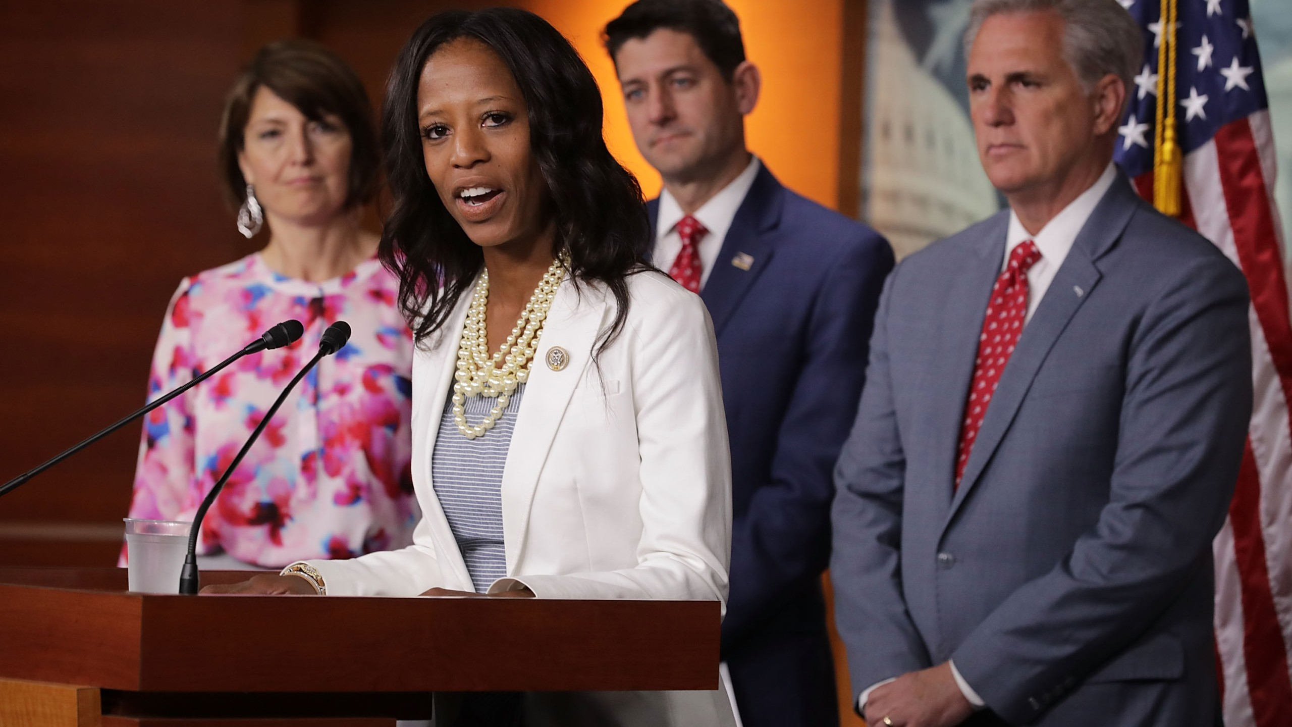 Rep. Mia Love speaks during a news conference with (from left) Rep. Cathy McMorris Rodgers, Speaker of the House Paul Ryan and Majority Leader Kevin McCarthy at the U.S. Capitol Visitors Center on July 17, 2018. (Credit: Chip Somodevilla / Getty Images)