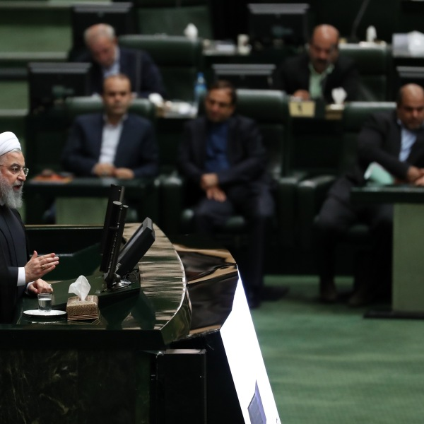 Iranian president Hassan Rouhani speaks to defend his nominations for four ministries during a parliament session in Tehran, on Oct. 27 2018. (Credit: STR/AFP/Getty Images)