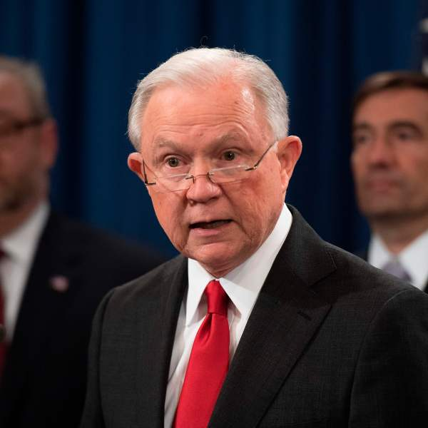 Attorney General Jeff Sessions speaks during a press conference at the Justice Department on Nov. 1, 2018. (Credit: Jim Watson / AFP / Getty Images)