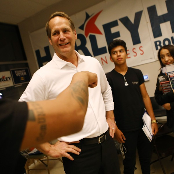 Congressional candidate Harley Rouda (CA-48), speaks with supporters at a Latinx campaign canvass launch on Nov. 1, 2018, in Costa Mesa. (Credit: Mario Tama/Getty Images)