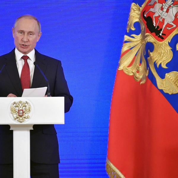 Russia's President Vladimir Putin delivers a speech during a reception in Moscow on Nov. 4, 2018. (Credit: Alexander Nemenov/AFP/Getty Images)