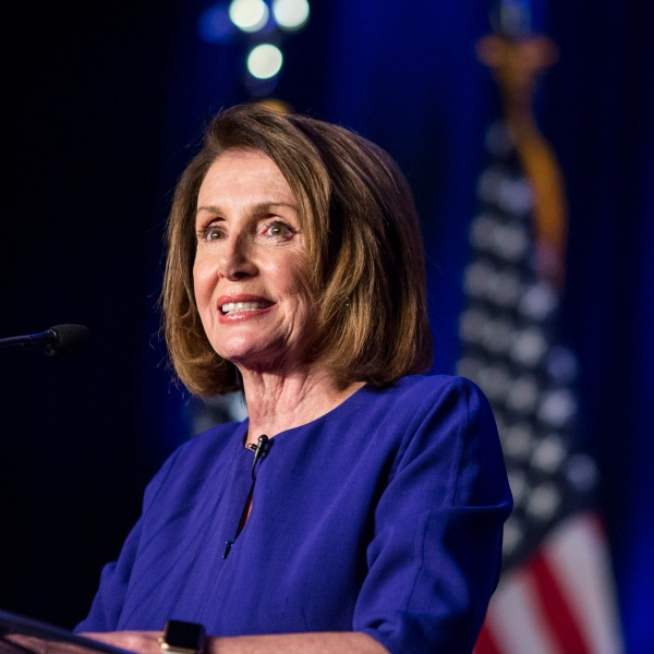 House Minority Leader Nancy Pelosi speaks during a DCCC election watch party at the Hyatt Regency on Nov. 6, 2018, in Washington, D.C. (Credit: Zach Gibson/Getty Images)