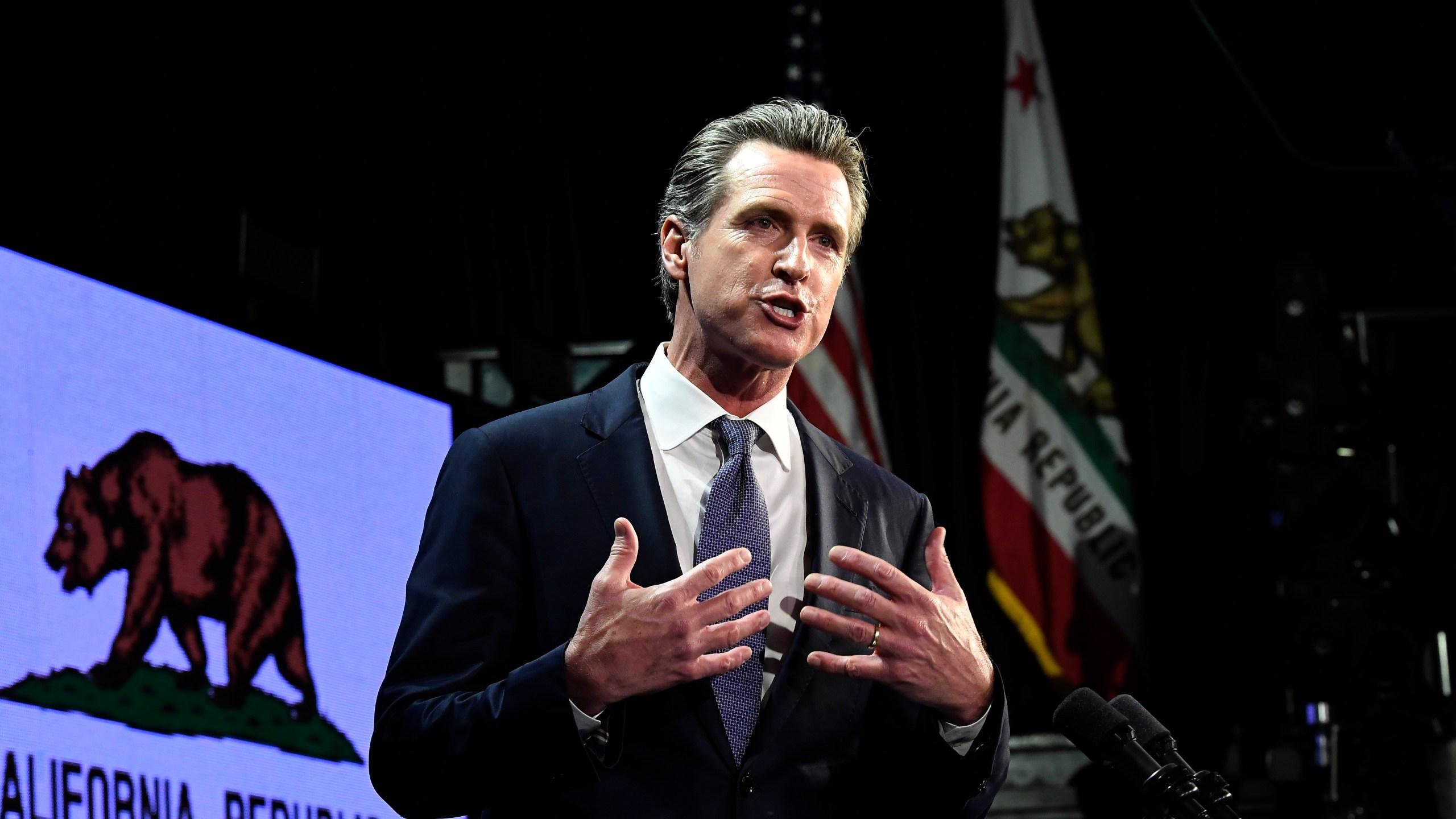 Democratic gubernatorial candidate Gavin Newsom speaks during his election-night event in Los Angeles on Nov. 6, 2018. (Credit: Kevork Djansezian / Getty Images)
