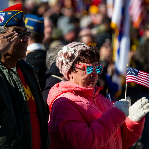 A man salutes as the U.S. flag during a Veterans Day ceremony at Arlington National Cemetery, on Nov. 11, 2018 in Arlington, Virginia. (Credit: Al Drago/Getty Images)