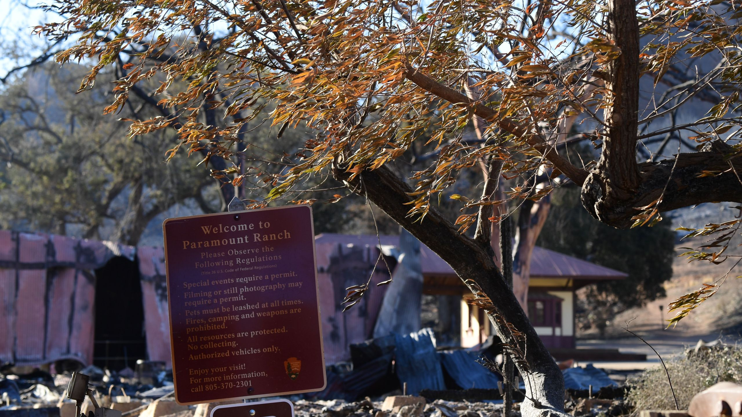 """Paramount Ranch in the Santa Monica Mountains, where the TV show """"Westworld"""" and hundreds of other Hollywood productions were filmed, is seen after the Woolsey fire, Nov. 12, 2018. (Credit: Robyn Beck / AFP / Getty Images)"""