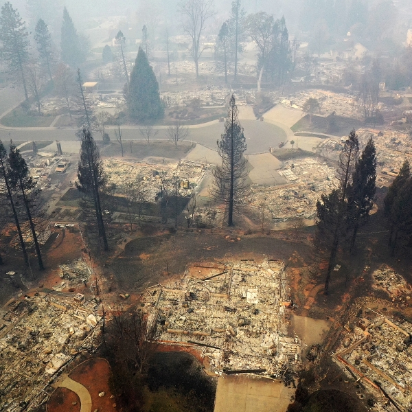 An aerial view of Paradise, which was destroyed by the Camp Fire, on Nov. 15, 2018. (Credit: Justin Sullivan/Getty Images)