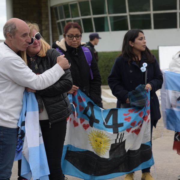 Relatives of crew members of the ARA San Juan submarine demonstrate outside the Navy Base in Mar del Plata, Buenos Aires province, Argentina, on Nov. 17, 2018.(Credit: ALFONSINA TAIN/AFP/Getty Images)