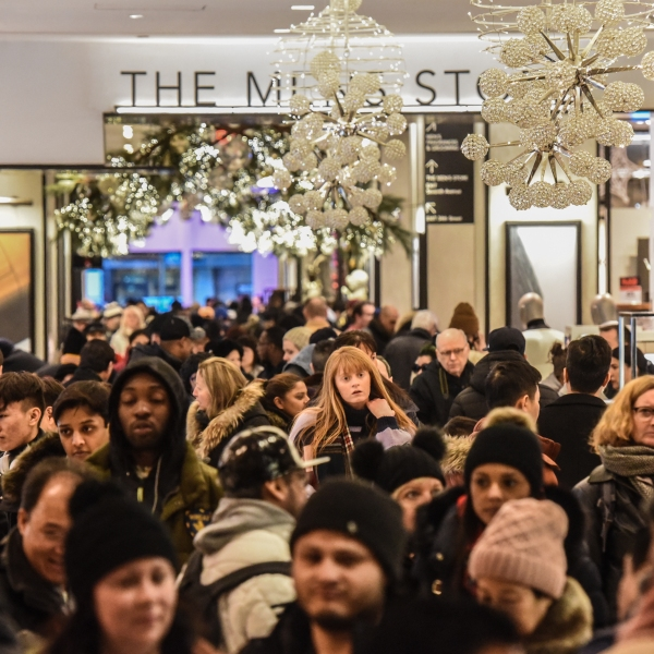 People shop at the Macy's flagship store on 34th Street in New York City on Black Friday on Nov. 23, 2018. (Credit: Stephanie Keith/Getty Images)