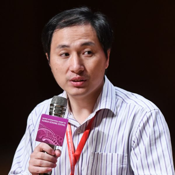 Chinese scientist He Jiankui takes part in a question and answer session after speaking at the Second International Summit on Human Genome Editing in Hong Kong on Nov. 28, 2018. (Credit: Anthony Wallace/AFP)