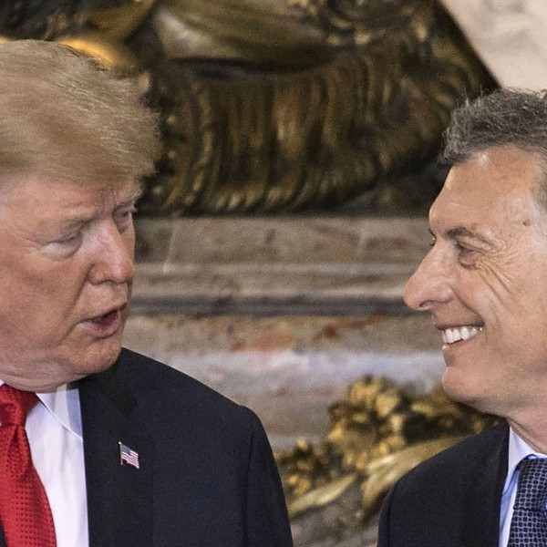 U.S. President Donald Trump is welcomed by Argentina's President Mauricio Macri at Casa Rosada presidential house in Buenos Aires, on November 30, 2018. (Credit: RAGGIO ALBERTO/AFP/Getty Images)