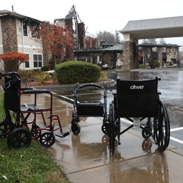Wheelchairs sit in front of a senior living facility in Paradise that was destroyed by the Camp Fire, Nov. 21, 2018. (Credit: Justin Sullivan / Getty Images)